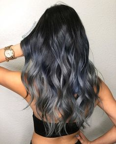 Black Blue Gray Ombre Hair Icy Some of the coolest literally colors in the color wheel appear together in this notsosubtle but notsovibrant ombre design If any of Black Hair Ombre, Hair Color For Black Hair, Cool Hair Color, Gray Ombre, Dark Hair With Blue, Silver Blue Hair, Blue Gray Hair, Hair Color Wheel, Blonde Ombre