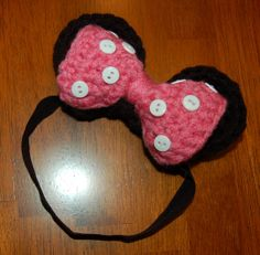Crochet Patterm: Crocheted Girl Mouse Headband, Soft Elastic Headband, Mouse Ears
