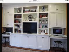 Wall unit with tv and workstation