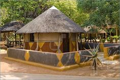 Picture of Traditional African house( hut) Bakwena tribe. Southern Africa, Botswana.