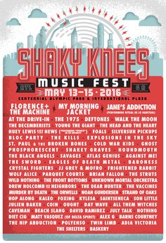Shaky Knees has revealed its 2016 lineup. The Atlanta-based music festival takes place atCentennial Olympic Park and International Plaza during the weekend ...