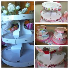 my stand for my mini cupcakes.... Plain stand blinged out... Lots of glitter stickers, and a tutu skirt from Dollar Tree!