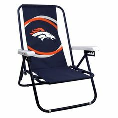 Denver Broncos Two Position Beach Chair - Navy Blue
