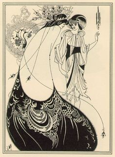 """""""The Peacock Skirt"""", by English Aesthetic and Art Nouveau artist, Aubrey Beardsley, woodblock print on Japanese vellum. It is one of the images Beardsley created to illustrate Oscar Wilde's 1891 play, 'Salomé'. Art And Illustration, Ink Illustrations, Fashion Illustrations, Painting Prints, Canvas Prints, Art Prints, Painting Art, Canvas Art, Artist Canvas"""