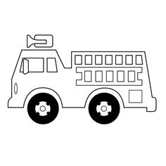 Fire truck pattern. Use the printable outline for crafts