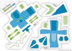 Blog Paper Toy papertoys Dragons Chinois Eau template preview Papertoys Dragons Chinois (x 5)