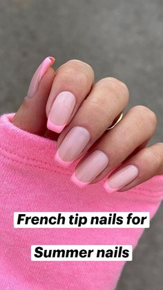 French Acrylic Nails, French Manicure Nails, French Tip Nails, Best Acrylic Nails, Pink Tip Nails, Short French Nails, Short Pink Nails, Pink Summer Nails, Nail French