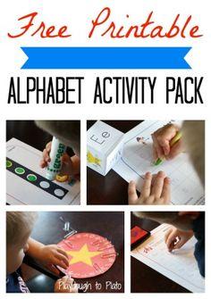 4 free printable alphabet games for kids. {Playdough to Plato}