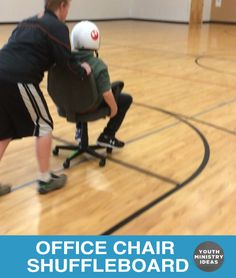 Office Chair Shuffleboard. Tape areas with different point values and kids try to land their teammates on them. It's not super high energy because it's two people playing while everyone else is standing around, but you could spice it up a little by having multiple chairs and all the teams go at once, or have …