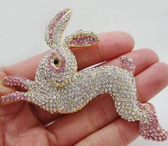 Pink and Whit Rabbit Brooch