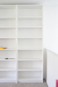 DIY Built Ins from IKEA Billy Bookcases + One Room Challenge Week 2 | blesserhouse.com - A step-by-step tutorial for how to make professional looking built in bookshelves using IKEA Billy bookcases for vertical storage.