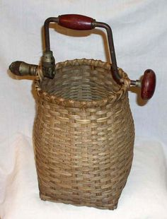 Handwoven Baskets by That Ky Lady - I know what that handle is.  Never thought to use a hand drill like that.