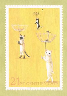 Japanese Stamp with Cats