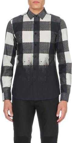 Belstaff Checked Cotton Shirt - For Men in Black for Men (Black off white) | Lyst