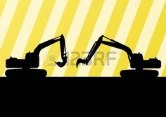 Excavator detailed silhouettes illustration in construction site background vector photo