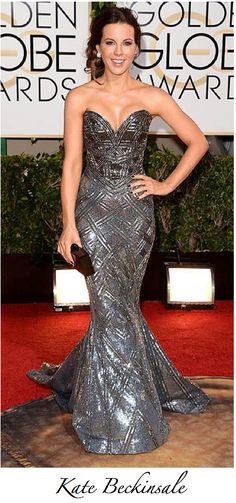 2014 Golden Globes - Zuhair Murad body armour dress, Jimmy Choo heels, + Edie Parker Clutch.