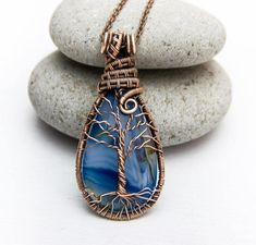 Tree-Of-Life Necklace Tree-of-life pendant Natural Blue agate necklace Copper Necklace Wire Wrapped pendant Copper pendant Family tree JF04