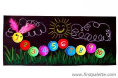 counting caterpillar made with paper cups-- or you could use plastic soda bottle lids!