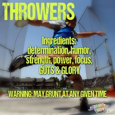 Track and field shot put, discus, hammer, javelin thrower ingredients!