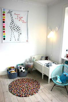 """Perfect New artwork for LB""""s room!! I think it's a reference to this book: http://www.amazon.com/Pourquoi-girafe-t-elle-long-cou/dp/2914401353/ref=wl_mb_hu_c_1_dp"""