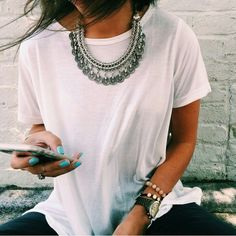 White tee & statement necklace