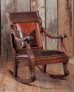 Western style rocker with tooled leather