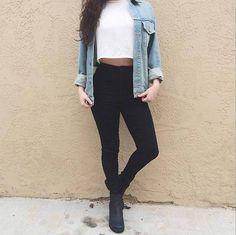 light wash denim jacket, white crop top, black high-waisted skinny jeans & black boots