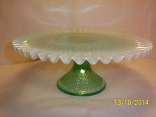 Fenton Large Green Opalescent Hobnail Pedestal Cake Plate Stand - Rare