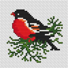 I can use this chart to knit a winter hat.A beautiful bird on a green branch free cross stitch pattern.The chart is also suitable for making greeting cards and other small cross stitch projects. Small Cross Stitch, Cute Cross Stitch, Cross Stitch Heart, Cross Stitch Cards, Cross Stitch Flowers, Cross Stitch Designs, Cross Stitching, Cross Stitch Embroidery, Embroidery Patterns