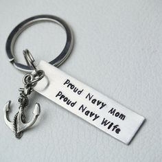 Custom Keychain, mother's day gift, best friend keychain, Proud Navy Mom,Proud Navy wife, Personalized keychain, Hand Stamped key chain