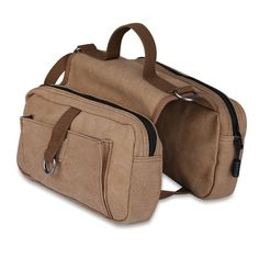 ivencase Cotton Canvas Dog Pack Hound Travel Camping Hiking Harness Backpack Saddle Bag for Medium and Large Dog (Khaki) ... ** Click image for more details.