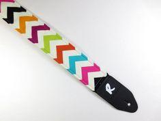 Chevron Guitar Strap - Cute - Multi Colored - Handmade for Women and Girls