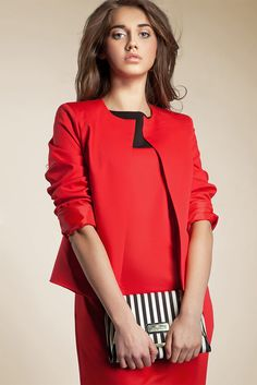 6e09e9f81a1 Veste Rouge Tailleur Femme Courte Chic Boléro qualité Z02 NIFE 36 38 40 42  44