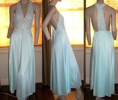 Sheer Bodice T Lace Back Long Nightgown Size S Negligee Wide Sweep Hem #JoiedeVieNightnDayIntimates #Gowns