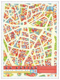 PÓSTER LA LATINA - Walk with me maps of Madrid