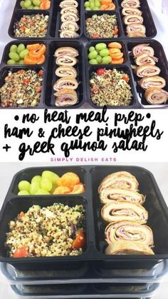 No Heat Meal Prep - Ham & Cheese Wrap + Greek Quinoa Salad Healthy Meal Prep, Healthy Snacks, Healthy Eating, Healthy Recipes, Easy Lunch Meal Prep, Meal Prep Bowls, Healthy Lunches, Lunch Snacks, Gourmet