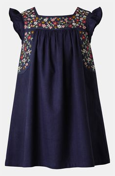This would be a great way to make one of the square collar dresses. (Mini Boden Embroidered Dress (Toddler, Little Girls & Big Girls) available at Toddler Girl Dresses, Little Girl Dresses, Girls Dresses, Toddler Girls, Toddler Mexican Dress, Look Fashion, Kids Fashion, Dress Fashion, Fashion Styles