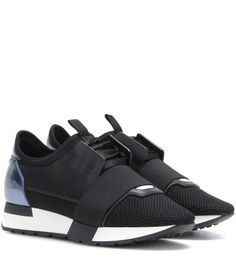 50e4b303a2fe1 Balenciaga - Race Runner leather and fabric sneakers - Balenciaga puts a  luxe… Black Leather
