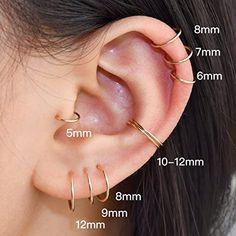 Pretty Ear Piercings, Ear Piercings Tragus, Cartilage Earrings, Ear Jewelry, Jewellery, Silver Hoop Earrings, Sterling Silver, Earrings Handmade, Amazon