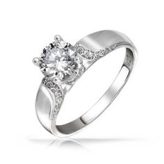 Amazon.com: Bling Jewelry Modern Round Solitaire CZ Engagement Ring 925 Silver: Jewelry