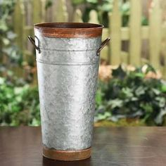 Galvanized and Rusty Tin French Flower Bucket