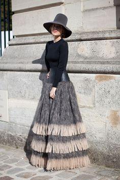 paris fashion, street style, fashion week, pari fashion, fringe maxi skirt, drama, maxi skirts, hat