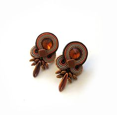 Piccolo regalo di Natale Orecchini arancione ambra per moglie boho amanti Orecchini soutache miele porta autunno rame gioielli Orecchini topazio
