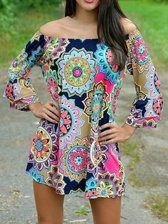 Boho Floral-Print Long Sleeve Off-Shoulder Round Neck Mini Dress – boholooks Beach Dresses, Sexy Dresses, Dresses For Sale, Fashion Dresses, Dresses With Sleeves, Summer Dresses, Shift Dresses, Dress Beach, Mini Dresses