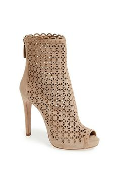 Prada Laser Cut Peep Toe Ankle Boot available at #Nordstrom