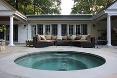 The patio material should extend all the way to the pool like this/no different border around the pool