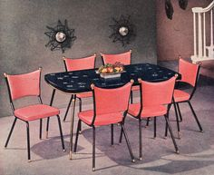 1956 Arvin Starglow | Flickr-- awesome dinette ad-- Color of the Month on LoveNestDesign blog-- June is Coral