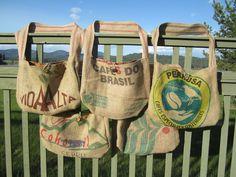 5 Burlap Coffee Tote Bags. Etsy.