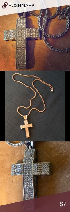 """Extra long silver and rhinestone cross necklace Extra long silver and rhinestone cross necklace.  Color is accurate in first and second picture.  Chain: 35.5"""".  Cross is 2.5"""" with total pendant length of 3.5 inches.  Bought for a pilot shoot and only worn in one scene.  Costume. Jewelry Necklaces"""