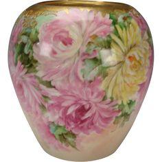 Antique Willets Belleek Hand Painted Flowers Vase Urn Jar c1900 from hideandgokeep on Ruby Lane